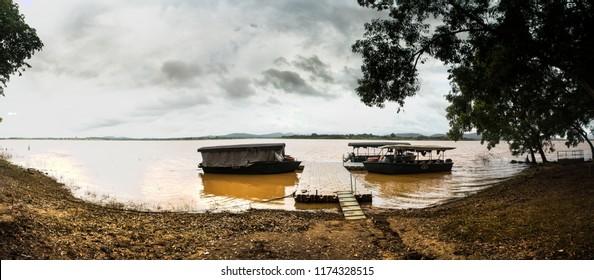 Kabini Wildlife Sanctuary,Karnataka, India - Aug 17:  Karnataka forest department boat safari  - Boats on Kabini river banks on Aug 07 -2018 in Kabini Wildlife Sanctuary, Karnataka, India
