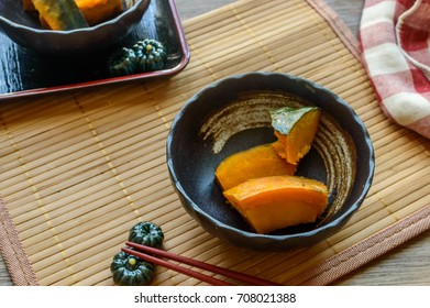 Kabocha no Nimono is a Japanese dish made of  pumpkin boiled with soy sauce, mirin, and sugar