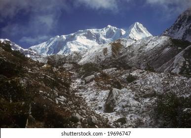 Kabru & Rathong, glaciated mountains, part  ofKangchenjunga Himal, HimalayaNepal, Asia