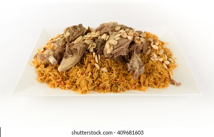 Kabsa with cooked meats in white background - Mandi Rice Kabsah with Meats - Mandi Meats