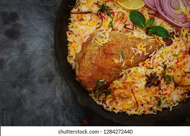 Kabsa orTurkey Biryani / Thanksgiving dinner overhead view