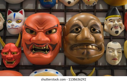 kabuki mask on the wooden femes, Japanese-style decorative masks.