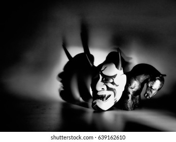 Kabuki, the mask shadow Kabuki is a classical Japanese dance drama with theater form, which originated in the Edo period at the beginning of 17 century.  - Shutterstock ID 639162610
