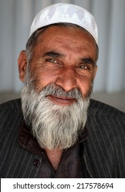 KABUL, AFGHANISTAN - 12 OCTOBER 2012:  An unidentified Afghan Trader waits for trade at a military base on October 12, 2012 in Kabul.