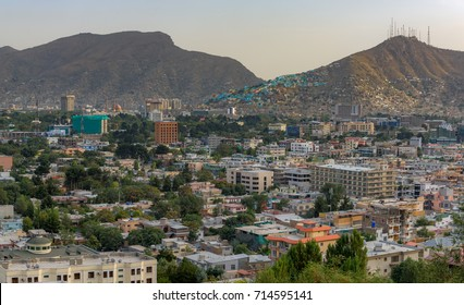 Kabul Afghanistan city scape skyline, capital Kabul hills and mountains with houses and buildings