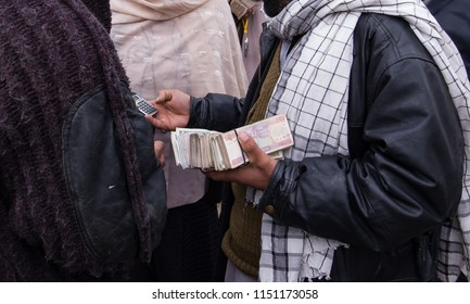 Kabul, Afghanistan, March 2005: street currency exchangers in Kabul