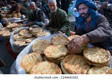 Kabul, Afghanistan November 2004: selling bread on the streets of Kabul