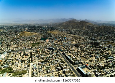 Kabul Afghanistan on July 20, 2013: City was located in the flat area with mountains surrounding the whole area