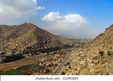 Kabul, Afghanistan, view from the surrounding mountain