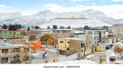 Kabul Afghanistan in the winter with mountains in the background