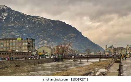 KABUL,AFGHANISTAN/MARCH 3, 2009: Kabul River embankment in the center of the city