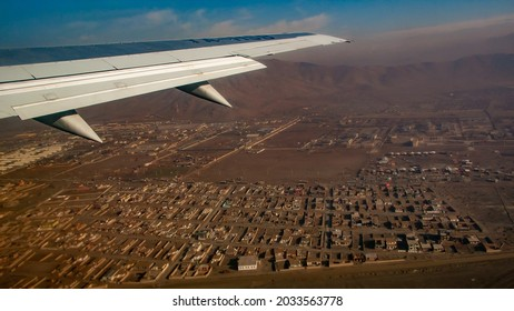 Kabul,Afghanistan-March 4,2009:View of Kabul airport from a plane taking off