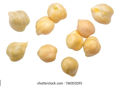 Kabuli Chickpeas (Cicer arietinum seeds), top view. Clipping paths
