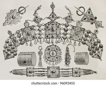 Kabylia jewels old illustration. Created by Duhousset, published on Le Tour Du Monde, Paris, 1867
