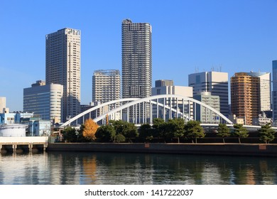 Kachidoki Tokyo city skyline - modern residential neighborhoods with high rise apartment buildings.