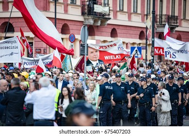 Kaczynski monthly commemoration of the plain crash by Smolensk. Demonstration on 10th of July 2017 in Warszawa, Warsaw. Ultimate police forces and the oppositional contr-manifestation (Obywatele RP).