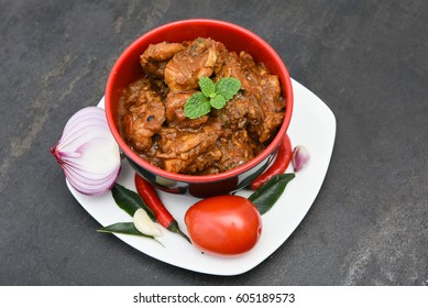 Kadai Chicken Karahi curry tikka masala kolhapuri, hot and spicy gravy  dish Pakistan, North India. Non-vegetarian food prepare using Indian  spices/masala. Sidedish chapati roti naan paratha phulka