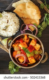 Kadai Paneer served with Jeera rice and Bhatura / Indian Vegetarian meal