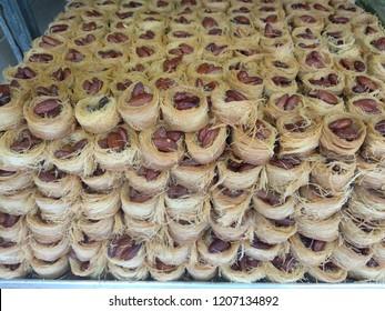 Kadaif cookies -Kanafeh, filled with almonds