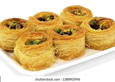Kadaif with pistachios. Traditional Arabic dessert.