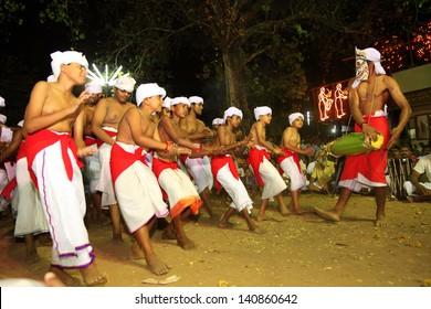 KADAMMANITTA, INDIA - APRIL 21: Padayani artists perform at the annual Padayani festival on April 21, 2013 at Kadammanitta temple,Kerala, India.