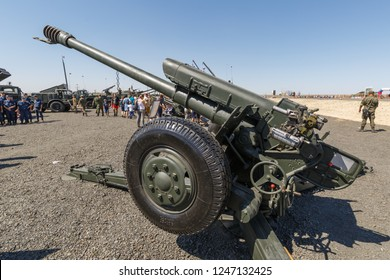 KADAMOVSKIY TRAINING GROUND, ROSTOV REGION, RUSSIA, 26 AUGUST 2018: International military technical forum ARMY-2018. The 122-mm Soviet howitzer D-30A (GRAU index 2A18)