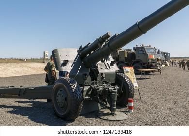 "KADAMOVSKIY TRAINING GROUND, ROSTOV REGION, RUSSIA, 26 AUGUST 2018: International military technical forum ""ARMY-2018». Soviet towed 152.4 mm howitzer 2A65 Msta-B"
