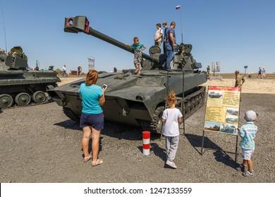 KADAMOVSKIY TRAINING GROUND, ROSTOV REGION, RUSSIA, 26 AUGUST 2018: International military technical forum ARMY-2018.  The 120 mm self-propelled howitzers/mortar system 2S34 Hosta