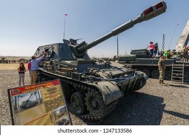 KADAMOVSKIY TRAINING GROUND, ROSTOV REGION, RUSSIA, 26 AUGUST 2018: International military technical forum ARMY-2018. 152-mm Soviet self-propelled howitzer 2S3M Akatsiya