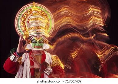 Kadhakali performance in motion blur
