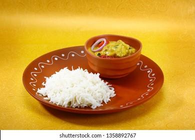 Kadhi chawal or yogurt curry with rice, Indian Dish curry dish