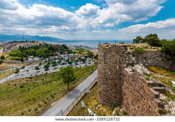 Kadifekale Castle view in Izmir City