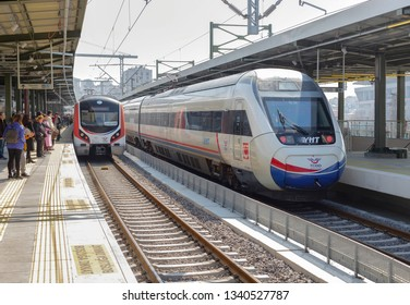 Kadikoy, Istanbul - March 16, 2019 : Anatolian side Marmaray Train Station on, Gebze - Halkali train and intercity high-speed train (YHT) TURKEY