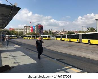 Kadikoy, Istanbul, Turkey - September 2019: Buses and passenger in Sogutlucesme metrobus main station.