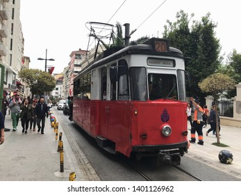 KADIKOY,ISTANBUL,TURKEY, MAY 18,2019: Old Tram going through the streets of Kadikoy on the Asian side of Istanbul.