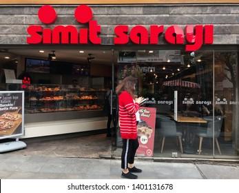 KADIKOY,ISTANBUL,TURKEY, MAY 18,2019:Simit Sarayi Bakery at Kadikoy  Square. Simit Sarayi is the biggest fast food and bakery chain of Turkey