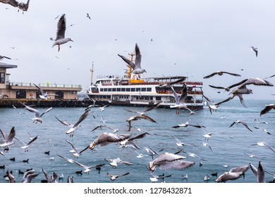 KADIKOY,ISTANBUL,TURKEY,JANUARY 8,2019: Snowy winter day view from Kadikoy shore. Kadikoy is a large, populous, and cosmopolitan district in the Asian side of Istanbul, Turkey.