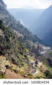 Kadisha valley and village in Lebanon