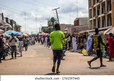Kaduna, Nigeria - June 11 2020: View of a local market. The scene depicts people interacting in a market scene.