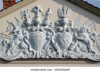 Kadyny, Poland - May 8, 2019: Coat of arms on Hohenzollern Palace, built by the German emperor Wilhelm II in 1898 as his summer residence.