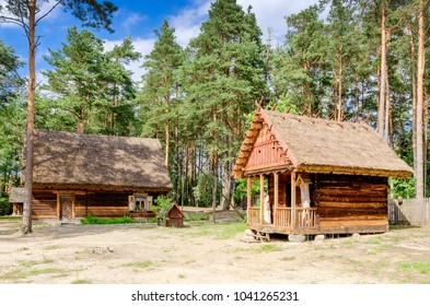 KADZIDLO, MASOVIA PROVINCE/POLAND - JULY 12, 2015: Traditional house from Kurpie, ethnic region in Poland, open-air museum in Kadzidlo.
