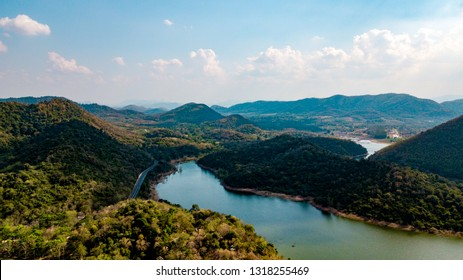 Kaeng Krachan Dam national park, Phetchaburi province, Thailand in aerial view from drone