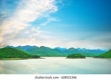 Kaeng Krachan national park lake view with cloudy sky