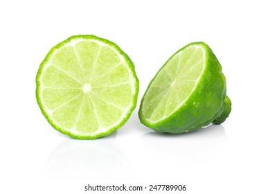 Kaffir lime (Bergamot) sliced isolated on white background