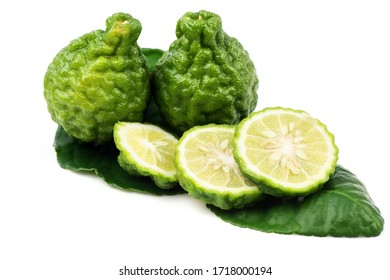 Kaffir lime, fruits cut, placed on a leaf, has medicinal properties.