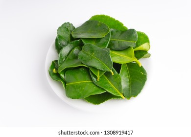 Kaffir lime leaf (Daun limau purut) isolated on white background with selective focus and crop fragment