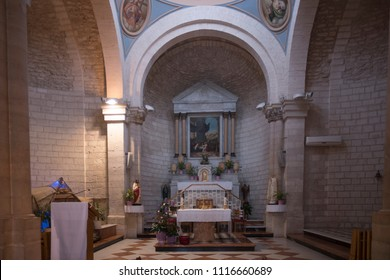 Kafr Kanna, Israel - December 22 2017: The wedding church, its name commemorates the miracle of turning water into wine at the wedding at Cana.