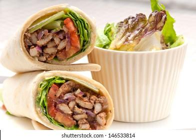 kafta shawarma chicken pita wrap roll sandwich traditional arab mid east food