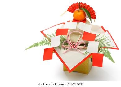 kagami mochi, traditional Japanese new year rice cake decoration isolated on white background