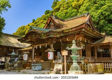 Kagawa, Japan - 26 July 2019: Mihotsuhime No Yashiro, in the grounds of Kotohiragu Shrine.